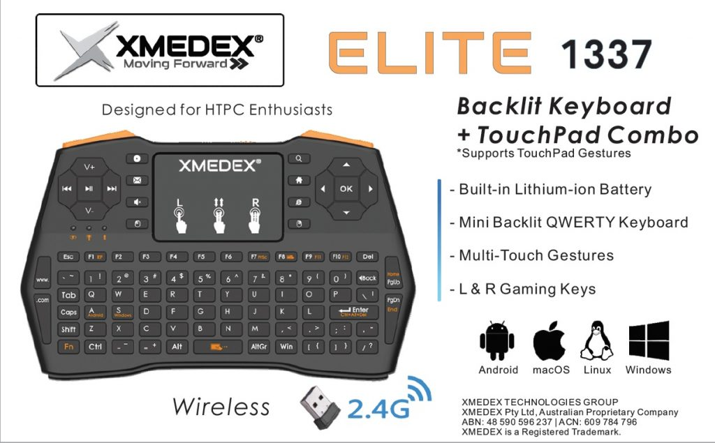 xmedex elite 1337 wireless backlit keyboard trackpad android australia